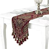 """Bettery Home Modern Luxury Table Runner Jacquard Floral Dresser Scarves with Multi-Tassels, 13"""" x 98"""", Red"""
