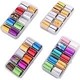 Teemico 4 Box of 40 Rolls Glitter Nail Art Stickers Nail Transfer Foil Wraps-Shell Pattern Starry Sky/Butterfly/Heart/Flower