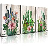 Canvas Prints Wall Decor Art Cactus Desert Plant with Spiny Flower Watercolor Hand Painted on Wooden Board Modern Nordic Styl