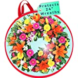 clutter armour Wreath Storage Container Bag - Water Resistant Holder with Clear Plastic Front for 24 Inch Wreaths - Modern St