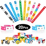 20 Pieces 8.3 Inch Silicone Charm Bracelets Rubber Charm Wristbands Adjustable Kids Bracelets Party Gift and Compatible with