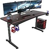"EUREKA ERGONOMIC Gaming Desk 60"" Home Office Computer Desk, New Polygon Legs Design, Captain Series (60 Inch, Black)"