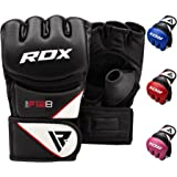 RDX MMA Gloves for Grappling Martial Arts Training, D. Cut Open Palm Maya Hide Leather Sparring Mitts, Perfect for Cage Fight