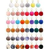 46 Pieces Pom Pom Keychain Fluffy Ball Faux Fur Keyring for Girl Women
