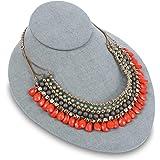 Mooca Linen Lay Down Necklace Bust Display Jewelry Display Necklace Chain Jewelry Bust Display Holder Stand, Dim Gray Linen