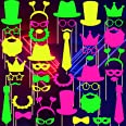 42 Pieces Glow Neon Party Photo Booth Props Fully Assembled Neon Glow Party Colorful Black Light Fluorescent Paper Posing Pro