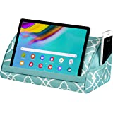 LapGear Microbead Tablet Pillow Stand with Phone Pocket - Aqua Trellis - Fits Most Tablets - Style No. 35522