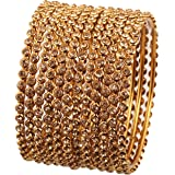 """Touchstone """"Golden Bangle Collection Yellow Rhinestone Traditional Single Line Stunning Indian Bollywood Designer Jewelry Met"""