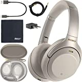 Sony WH-1000XM3 Wireless Noise-Canceling Over-Ear Headphones (Silver) WH1000XM3/S + AOM Bundle - International Version (1 Yea