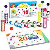 Washable Dot Markers, 10 Colors Bingo Daubers with Dot Coloring Book and 70 Patterns Coloring PDF Sheets, Non-Toxic Water-Bas