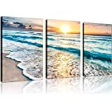 QICAI 3 Panel Canvas Wall Art for Home Decor Blue Sea Sunset White Beach Painting The Picture Print On Canvas Seascape the Pi