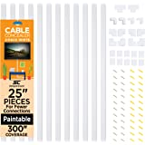 Cable Concealer On-Wall Cord Cover Raceway Kit - 12 White Cable Covers - Cable Management System to Hide Cables, Cords, or Wi