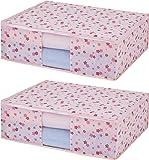 アストロ 寝具 収納袋 2枚 毛布・タオルケット・薄手の掛け布団用 ピンクフラワー 不織布 197-02