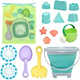 RACPNEL Beach Toys Sand Toys Set for Kids, Collapsible Sand Bucket and Shovels Set with Mesh Bag, Sand Molds, Watering Can, F