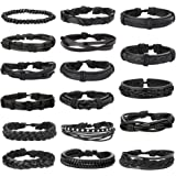 Jstyle 17Pcs Braided Leather Bracelet for Men Women Wooden Beaded Cuff Wrap Bracelet Adjustable