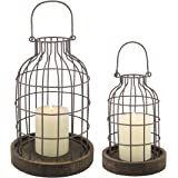 Stonebriar Rustic Metal Wire Cage Cloche Set with Rustic Wooden Bases, Industrial and Farmhouse Home Decor Accents, Display F