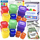 21 Day LABELED Efficient Nutrition Portion Control Containers Kit (28-Piece) + COMPLETE GUIDE + 21 DAY PLANNER + RECIPE eBOOK