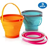 Foldable Pail Bucket Collapsible Buckets Multi Purpose for Beach, Camping Gear Water and Food Jug, Dog Bowls, Cats, Dogs and