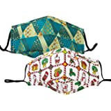 Funny Christmas Reusable Face Bandanas Cloth Mask, Ugly Santa Snowman Adjustable Mouth Cover for Adults