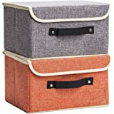 Jane's Home Storage Bins Boxes Set Linen Collapsible Cube Set Organizer Basket with Lid & Handle, Foldable Fabric Containers