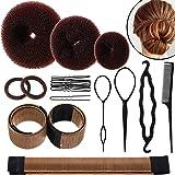 Hair Bun Shaper Set, include 3 Pieces Hair Bun Donut, 2 Pieces Bun Marker, 4 Pieces Ponytail Hair Tool, 10 Pieces Bobby Pins