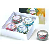 Scented Candles Gift Set of 4, 100% Natural Soy Wax Portable Travel Tin, Perfect Present or Use for Valentine Weddings Party