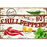 Angeloken New Metal Tin Sign Retro Vintage Spicy Hot Chili Peppers Aluminum Sign for Home Coffee Wall Decor 8x12 Inch