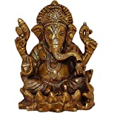 Brass Ganesh Idol l Figurine Statue l Hinduism Religious Art l Antique Gold Finish l Auspicious l Home Decorative Temple Show