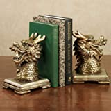 Touch of Class Golden Dragon Head Bookends Pair Gold