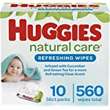 HUGGIES Refreshing Clean Scented Baby Wipes, Hypoallergenic, 10 Flip-top Packs, 56 Ct Each (560 Total Wipes)