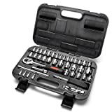 """MAXPOWER 42-Piece 1/4""""& 3/8""""Dr. Socket Wrench Set With Included Sockets, Ratchet Handle, Extension Bars, Universal Joint, Ada"""