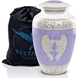 RESTAALL Angel Wings Cremation Urns for Human Ashes Adult Large. Purple urn for Memorial, Funeral or Burial for Peace of Mind