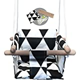 Baby Modern Hammock Swing | Swing for Babies with Warm Colors Canvas Design | Wood Frame and Polyester Fabric | Safe and Stur
