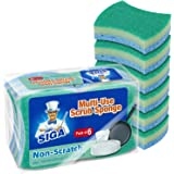 MR.SIGA Multi-Use Cellulose Scrub Sponge, Dual-Sided Dishwashing Sponge for Kitchen, 12 Pack