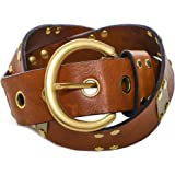 Nanni Women's Leather Studded Bar Belt Brown