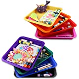 Set of 8 Kids Activity Plastic Tray, Rainbow of Colors, Arts and Crafts Organizer Tray, Serving Tray, Great for Crafts, Beads