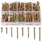 Minimprover 160本入 木ネジセット 8サイズ 全ネジ 十字穴付皿木ねじ スクリューネイル #M3.5mm x 16mm/20mm/30mm/35mm #M4.0mm x 25mm/30mm/35mm/40mm 収納ケース付き