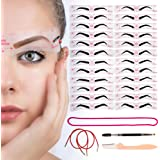 Eyebrow Stencil Reusable 24 Styles - Eyebrow Shaper Kit Template With Strap, 3 Minute Perfect Makeup Tool for Women, Eyebrows