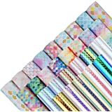 28 Pieces 8x6 Inch Mermaid Scales Faux Leather Sheets for Leather Bows and Earrings Making Include 4 Kinds Mermaid Scales Lea