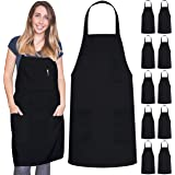 12 Pack Bib Apron - Unisex Black Apron Bulk Machine Washable for Kitchen Crafting BBQ Drawing Outdoors By Green Lifestyle…
