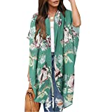 Womens Floral Kimono Cardigans Short Sleeve Draped Flowy Loose Beach Cover Up Swimsuits