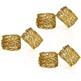 Kaizen Casa Handmade Round Mesh Napkin Rings Holder for Dinning Table Parties Everyday, Set of 6 (Gold)