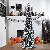 5' Black Tinsel Pop-Up Artificial Halloween Christmas Tree,Decoracted White Ghost Sequins,Collapsible Pencil Halloween Christ