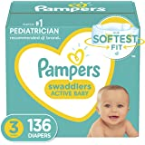 Pampers Swaddlers Diapers, Size 3, 136 Count