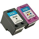 2pcs(1BK+1CL) Compatible Ink Cartridges for HP 65XL Black / Tricolour for HP DeskJet 2600 2620 2621 2622 3722 3752 Envy 5020