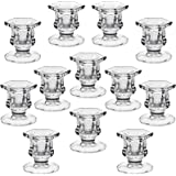 """YiSeyruo Candle Holder for Taper Candles: Clear Glass Candle Holders for 7/8"""" Taper Candle Decorative Candle Stand for Table"""