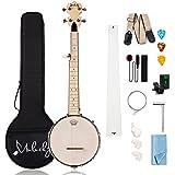 Mulucky 5 String Banjo Mini - 28 Inch Closed Solid Back Beginner Kit With Gig Bag Tuner Picks Strings Strap - B805