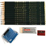 Faber-Castell 9000 Art Graphite Sketch Best Gifts Wood Pencil Sets 12 Counts With 12 Degree of Hardness (2H, H, F, HB.) + 1 K