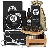 Beard Kit, Beard Growth Beard Care Beard Grooming Kit for Men, Organic Beard Oil, Beard Balm, Boar Bristle Beard Brush, Beard