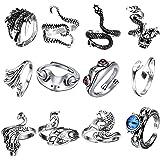 FIBO STEEL 12 Pcs Open Frog Rings Vintage Punk Rings Set for Women Men Hug Octopus Dragon Snake Ring Adjustable Frog Jewelry